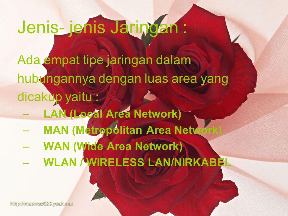 Jenis- jenis Jaringan : Ada empat tipe jaringan dalam hubungannya dengan luas area yang dicakup yaitu : –LAN (Local Area Network) –MAN (Metropolitan Area Network) –WAN (Wide Area Network) –WLAN / WIRELESS LAN/NIRKABEL