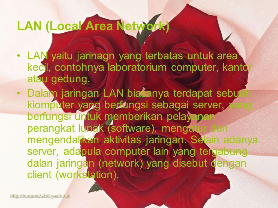 LAN (Local Area Network) LAN yaitu jarinagn yang terbatas untuk area kecil, contohnya laboratorium computer, kantor atau gedung. Dalam jaringan LAN bi
