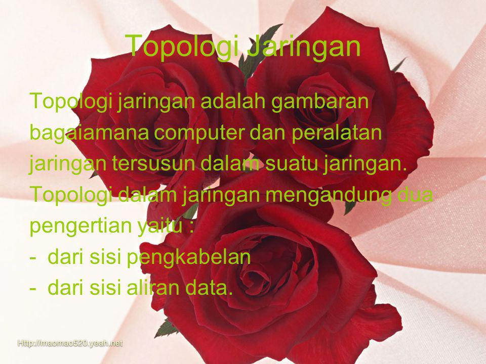 Topologi Jaringan Topologi jaringan adalah gambaran bagaiamana computer dan peralatan jaringan tersusun dalam suatu jaringan.