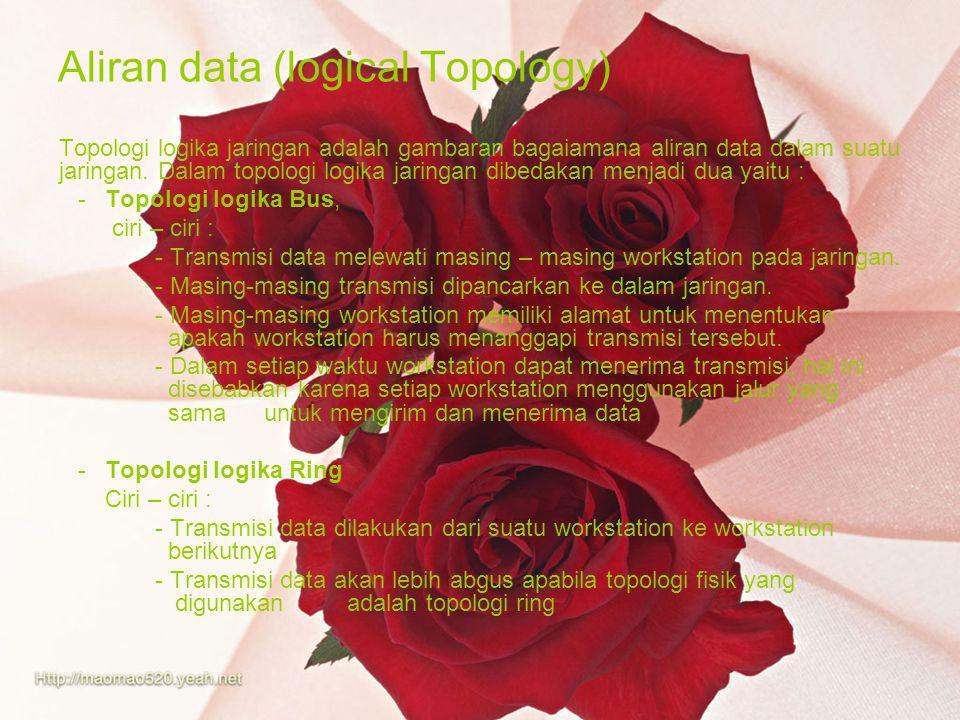 Aliran data (logical Topology) Topologi logika jaringan adalah gambaran bagaiamana aliran data dalam suatu jaringan. Dalam topologi logika jaringan di