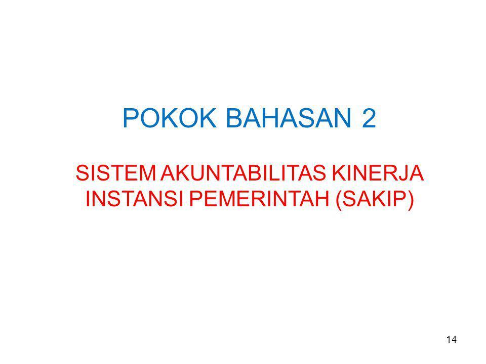 POKOK BAHASAN 2 SISTEM AKUNTABILITAS KINERJA INSTANSI PEMERINTAH (SAKIP) 14