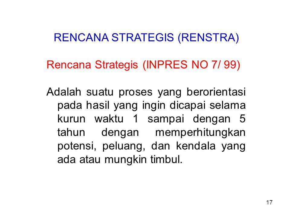 RENCANA STRATEGIS (RENSTRA) Rencana Strategis (INPRES NO 7/ 99) Adalah suatu proses yang berorientasi pada hasil yang ingin dicapai selama kurun waktu 1 sampai dengan 5 tahun dengan memperhitungkan potensi, peluang, dan kendala yang ada atau mungkin timbul.