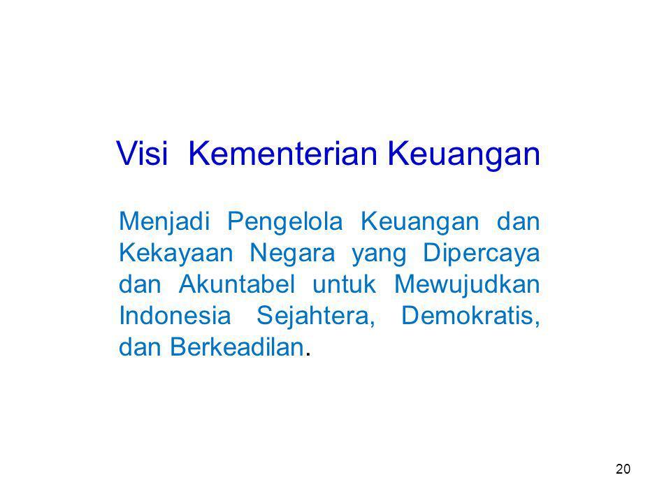 Visi Kementerian Keuangan Menjadi Pengelola Keuangan dan Kekayaan Negara yang Dipercaya dan Akuntabel untuk Mewujudkan Indonesia Sejahtera, Demokratis, dan Berkeadilan.