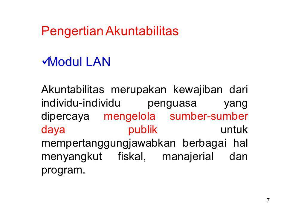 Pengertian Akuntabilitas Modul LAN Akuntabilitas merupakan kewajiban dari individu-individu penguasa yang dipercaya mengelola sumber-sumber daya publik untuk mempertanggungjawabkan berbagai hal menyangkut fiskal, manajerial dan program.