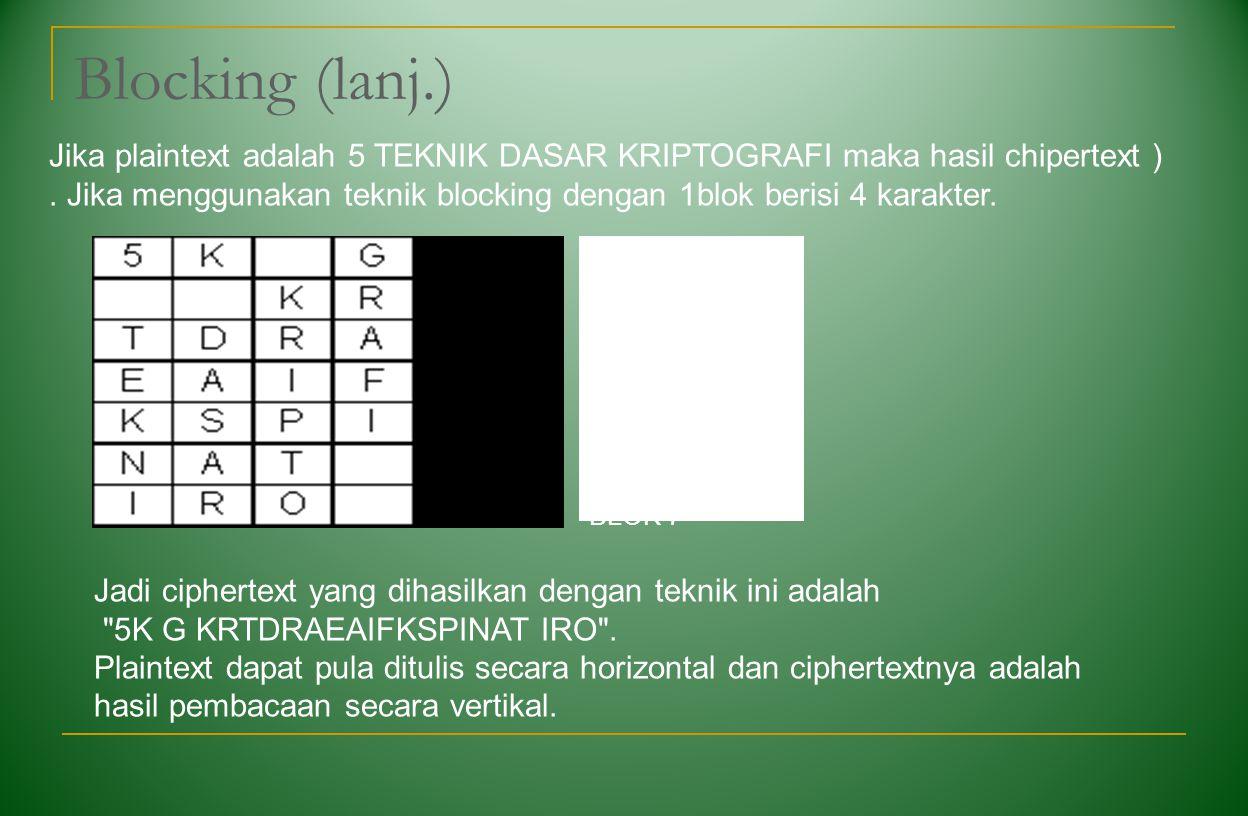 Blocking (lanj.) BLOK 1 BLOK 2 BLOK 3 BLOK 4 BLOK 5 BLOK 6 BLOK 7 Jadi ciphertext yang dihasilkan dengan teknik ini adalah