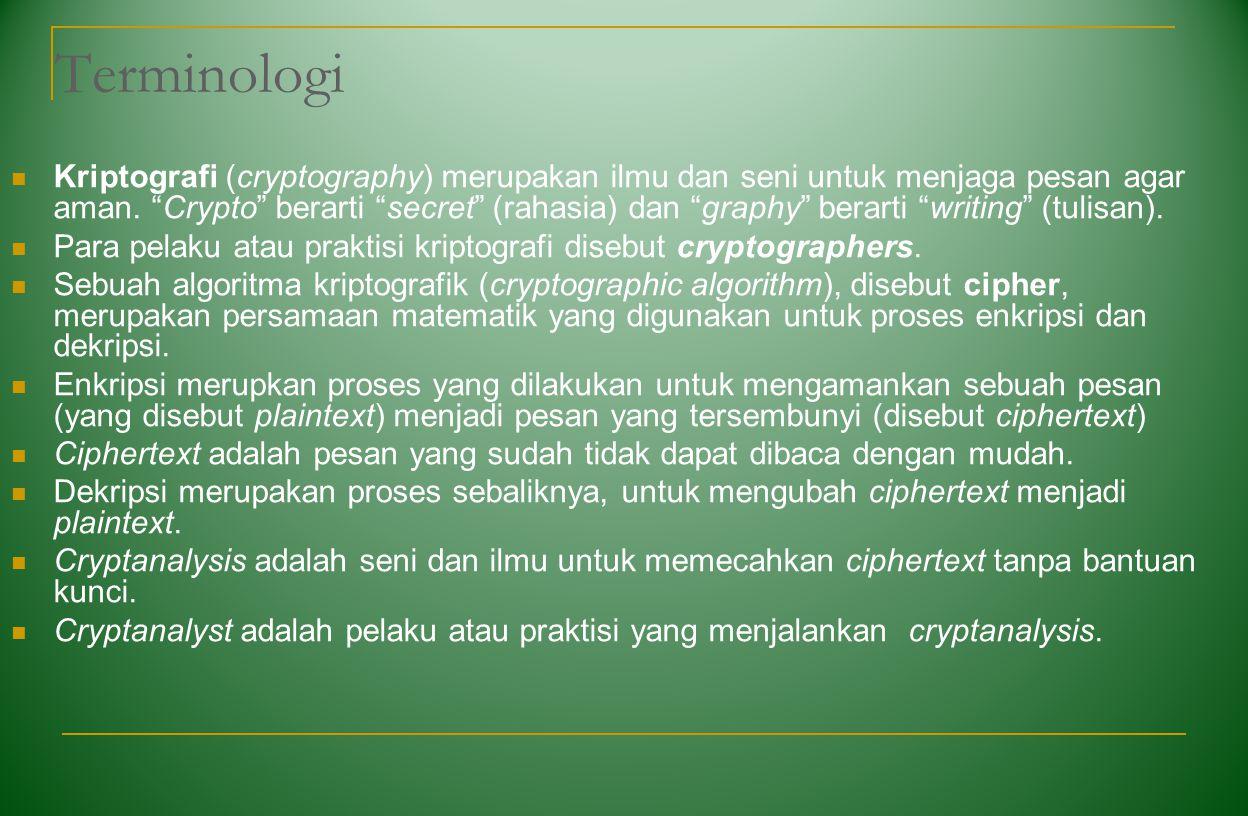 """Terminologi Kriptografi (cryptography) merupakan ilmu dan seni untuk menjaga pesan agar aman. """"Crypto"""" berarti """"secret"""" (rahasia) dan """"graphy"""" berarti"""