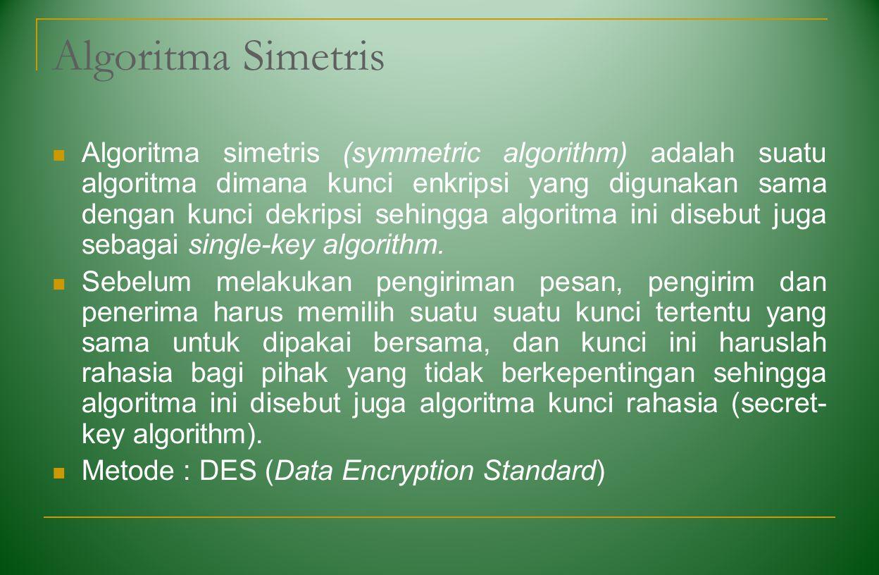Algoritma Simetris Algoritma simetris (symmetric algorithm) adalah suatu algoritma dimana kunci enkripsi yang digunakan sama dengan kunci dekripsi seh