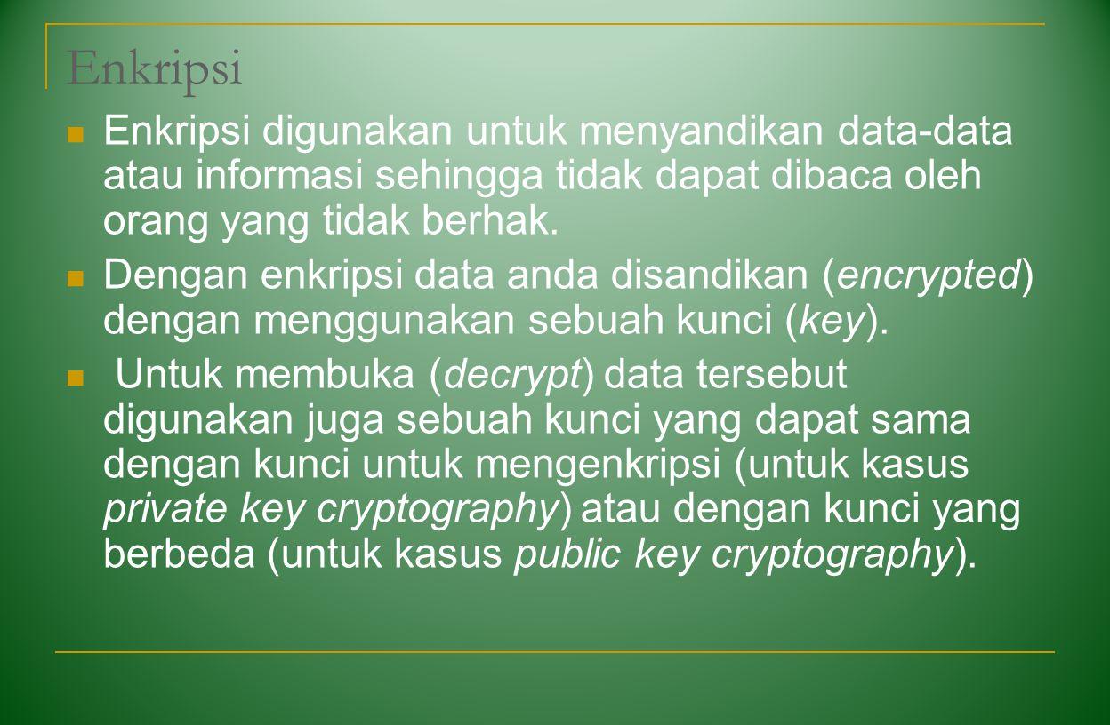 Enkripsi Enkripsi digunakan untuk menyandikan data-data atau informasi sehingga tidak dapat dibaca oleh orang yang tidak berhak. Dengan enkripsi data