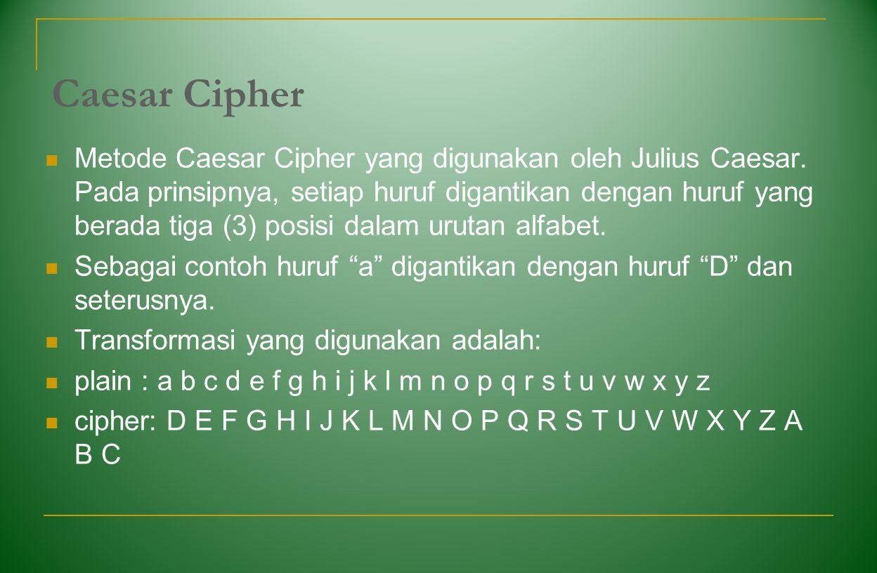Caesar Cipher Metode Caesar Cipher yang digunakan oleh Julius Caesar. Pada prinsipnya, setiap huruf digantikan dengan huruf yang berada tiga (3) posis