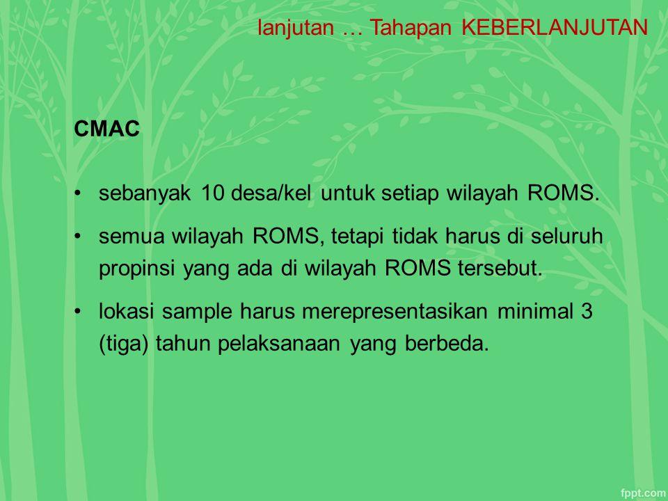 lanjutan … Tahapan KEBERLANJUTAN CMAC sebanyak 10 desa/kel untuk setiap wilayah ROMS. semua wilayah ROMS, tetapi tidak harus di seluruh propinsi yang