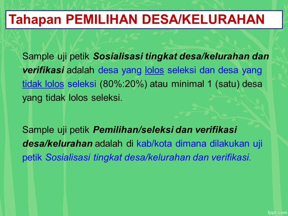 Tahapan PEMILIHAN DESA/KELURAHAN Sample uji petik Sosialisasi tingkat desa/kelurahan dan verifikasi adalah desa yang lolos seleksi dan desa yang tidak