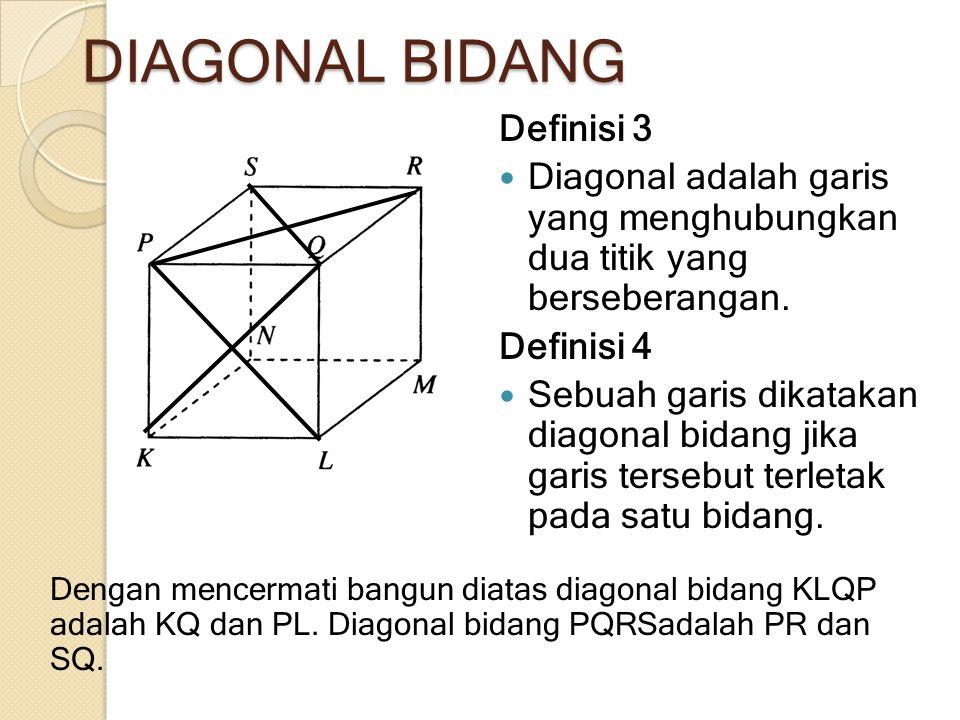 DIAGONAL BIDANG Definisi 3 Diagonal adalah garis yang menghubungkan dua titik yang berseberangan. Definisi 4 Sebuah garis dikatakan diagonal bidang ji