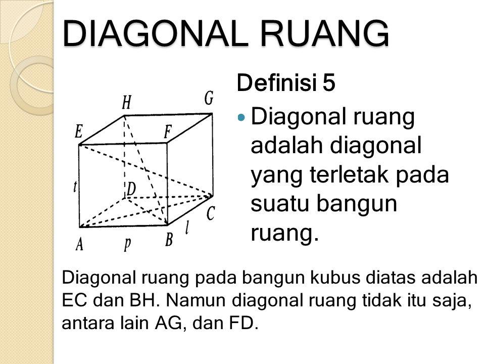 DIAGONAL RUANG Definisi 5 Diagonal ruang adalah diagonal yang terletak pada suatu bangun ruang. Diagonal ruang pada bangun kubus diatas adalah EC dan