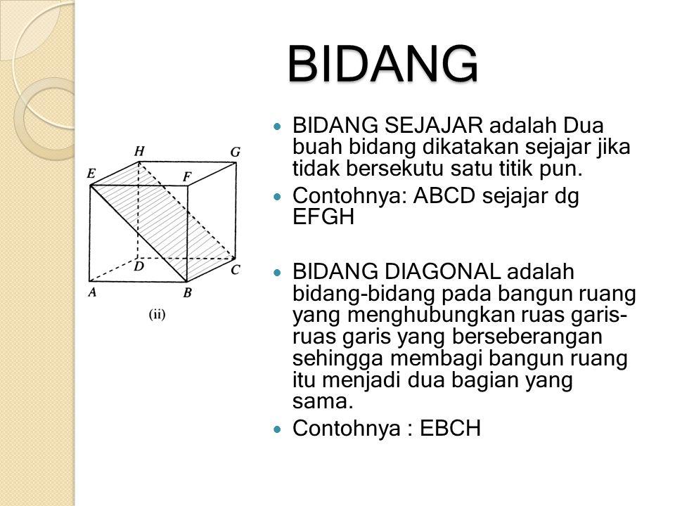 BIDANG BIDANG SEJAJAR adalah Dua buah bidang dikatakan sejajar jika tidak bersekutu satu titik pun. Contohnya: ABCD sejajar dg EFGH BIDANG DIAGONAL ad