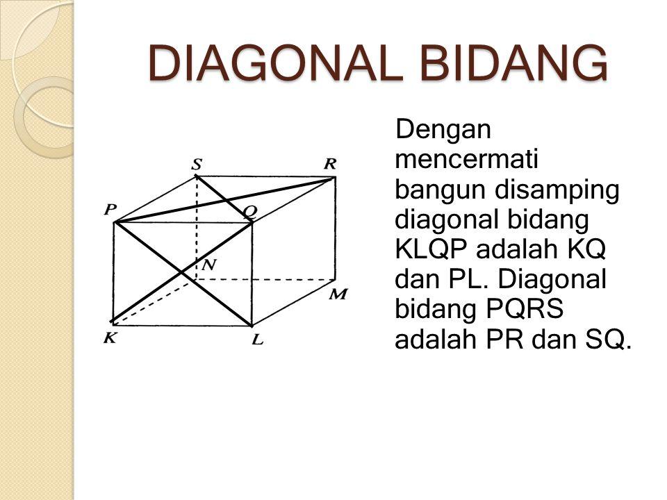 DIAGONAL BIDANG Dengan mencermati bangun disamping diagonal bidang KLQP adalah KQ dan PL. Diagonal bidang PQRS adalah PR dan SQ.