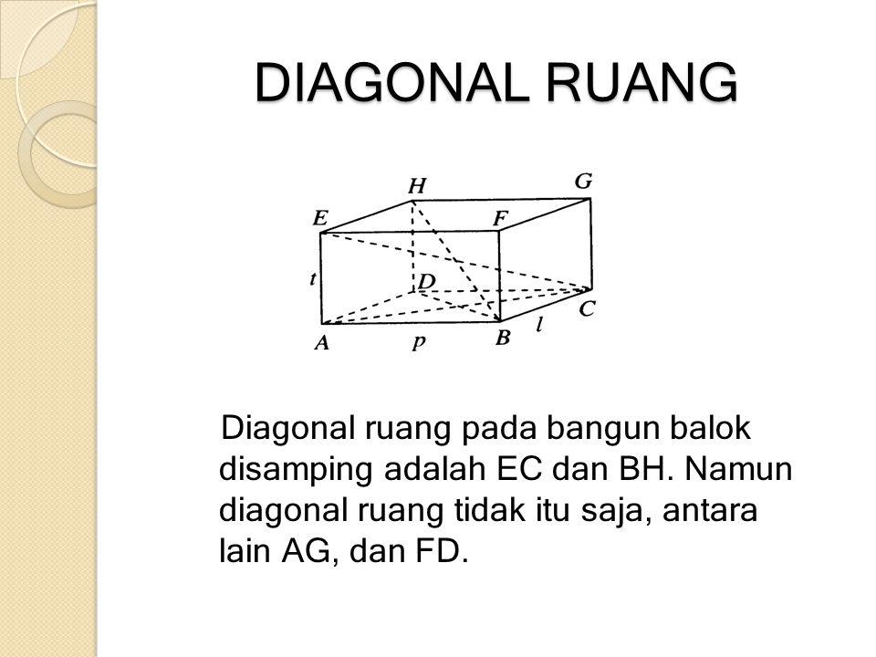 DIAGONAL RUANG Diagonal ruang pada bangun balok disamping adalah EC dan BH. Namun diagonal ruang tidak itu saja, antara lain AG, dan FD.