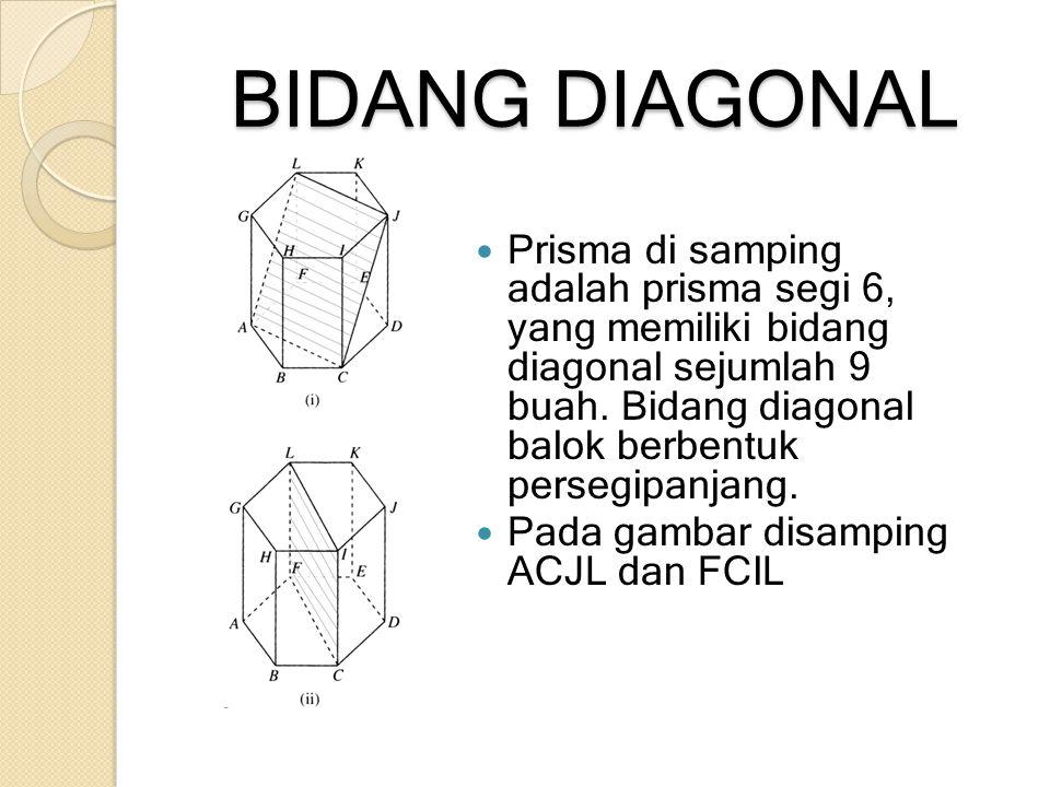 BIDANG DIAGONAL Prisma di samping adalah prisma segi 6, yang memiliki bidang diagonal sejumlah 9 buah. Bidang diagonal balok berbentuk persegipanjang.