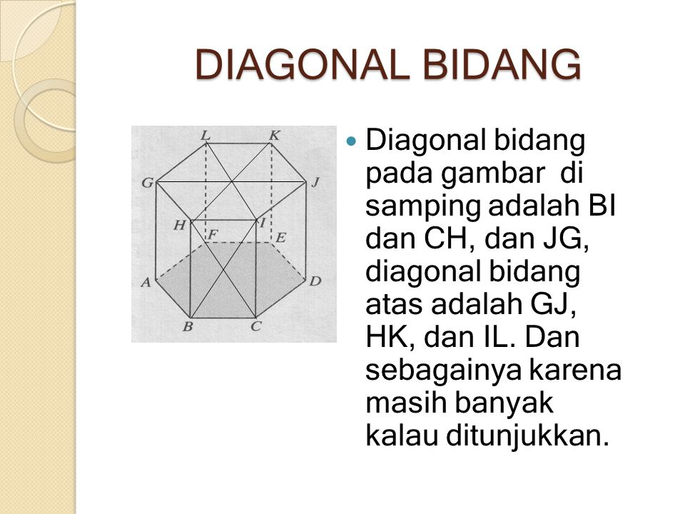 DIAGONAL BIDANG Diagonal bidang pada gambar di samping adalah BI dan CH, dan JG, diagonal bidang atas adalah GJ, HK, dan IL. Dan sebagainya karena mas