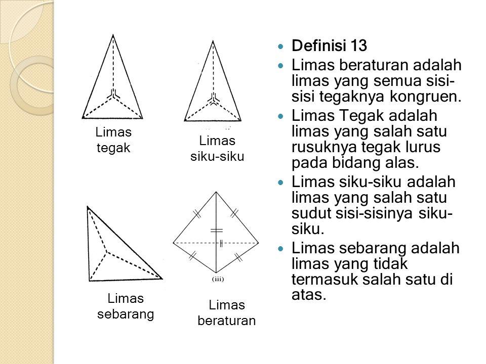 Definisi 13 Limas beraturan adalah limas yang semua sisi- sisi tegaknya kongruen. Limas Tegak adalah limas yang salah satu rusuknya tegak lurus pada b