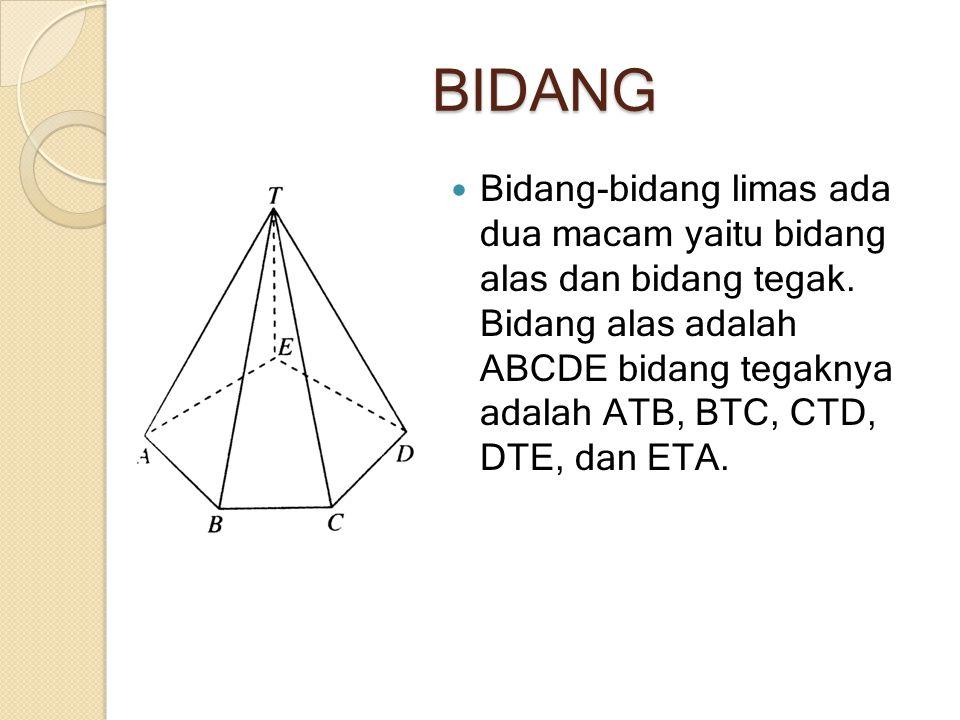 BIDANG Bidang-bidang limas ada dua macam yaitu bidang alas dan bidang tegak. Bidang alas adalah ABCDE bidang tegaknya adalah ATB, BTC, CTD, DTE, dan E