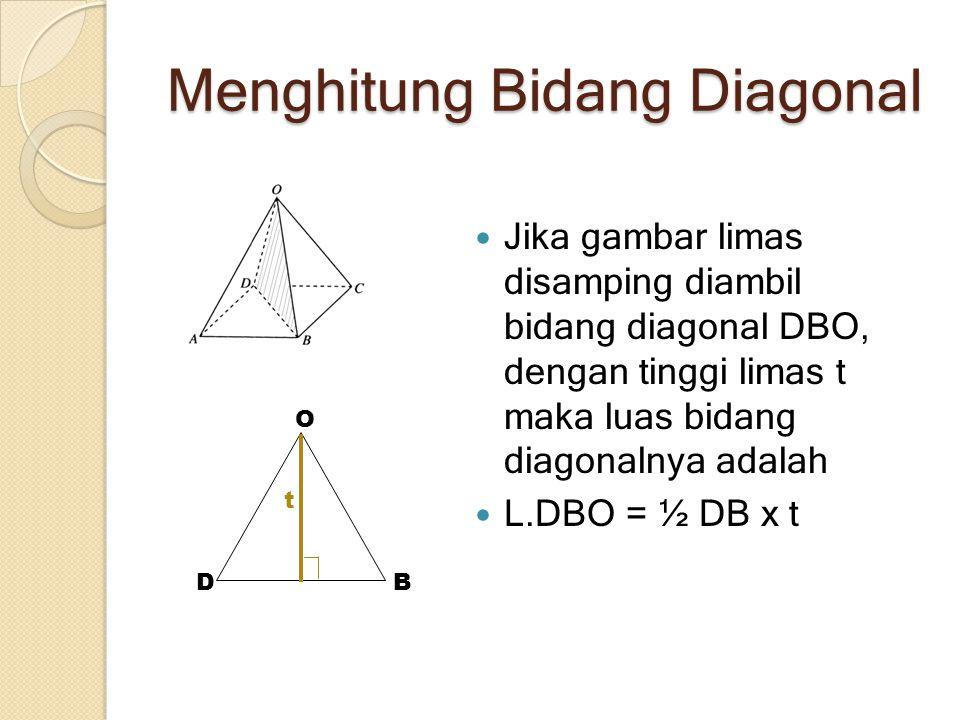 Menghitung Bidang Diagonal Jika gambar limas disamping diambil bidang diagonal DBO, dengan tinggi limas t maka luas bidang diagonalnya adalah L.DBO =