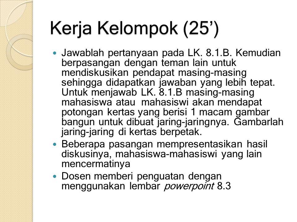Kerja Kelompok (25') Jawablah pertanyaan pada LK. 8.1.B. Kemudian berpasangan dengan teman lain untuk mendiskusikan pendapat masing-masing sehingga di