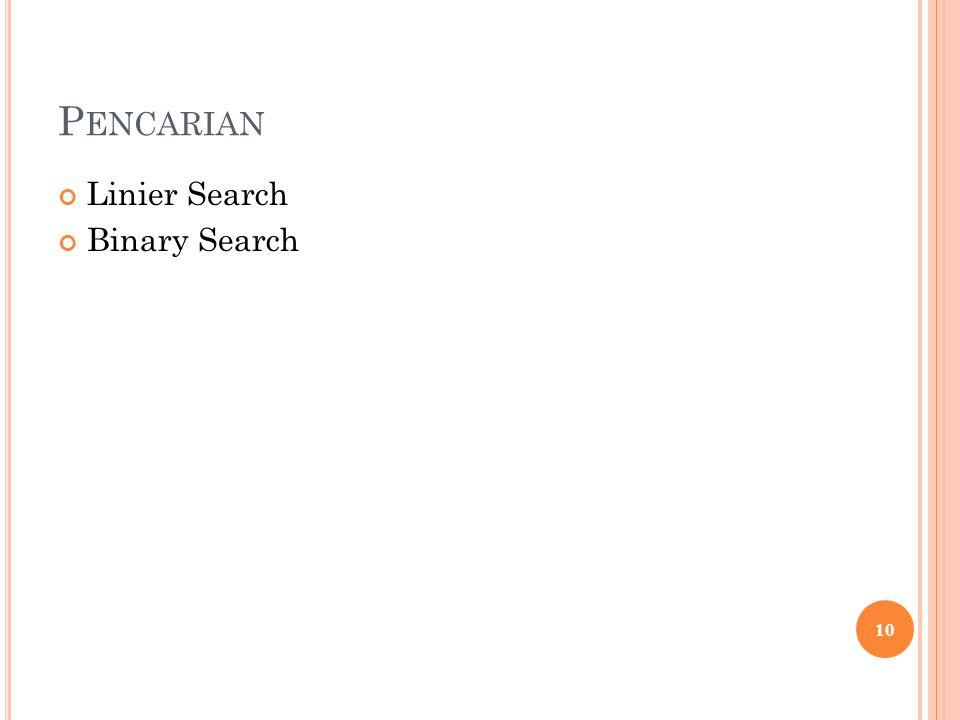 P ENCARIAN Linier Search Binary Search 10