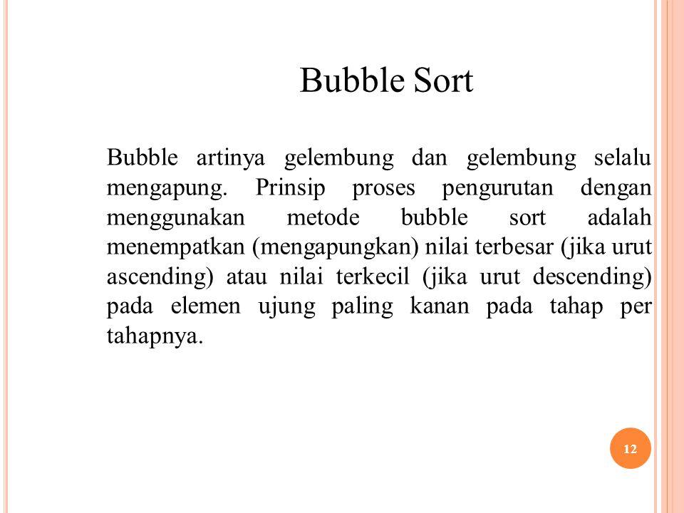 12 Bubble Sort Bubble artinya gelembung dan gelembung selalu mengapung. Prinsip proses pengurutan dengan menggunakan metode bubble sort adalah menempa