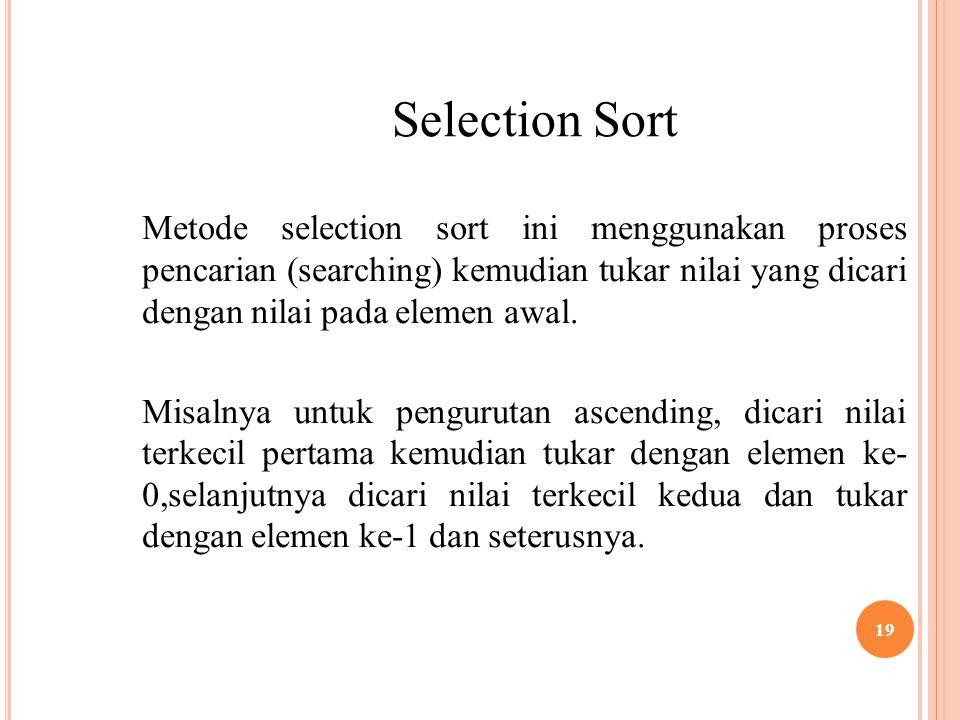 19 Selection Sort Metode selection sort ini menggunakan proses pencarian (searching) kemudian tukar nilai yang dicari dengan nilai pada elemen awal.