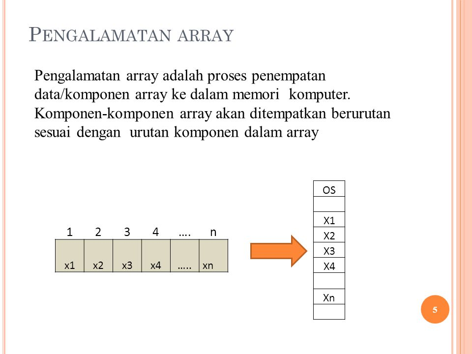 P ENGALAMATAN ARRAY 5 Pengalamatan array adalah proses penempatan data/komponen array ke dalam memori komputer. Komponen-komponen array akan ditempatk