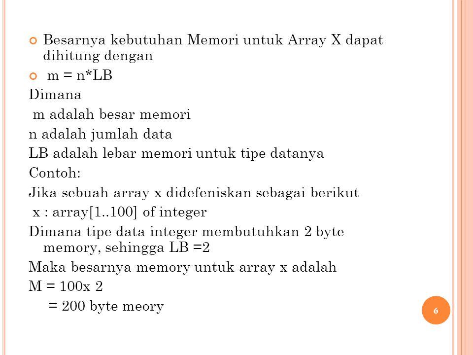 Besarnya kebutuhan Memori untuk Array X dapat dihitung dengan m = n*LB Dimana m adalah besar memori n adalah jumlah data LB adalah lebar memori untuk tipe datanya Contoh: Jika sebuah array x didefeniskan sebagai berikut x : array[1..100] of integer Dimana tipe data integer membutuhkan 2 byte memory, sehingga LB =2 Maka besarnya memory untuk array x adalah M = 100x 2 = 200 byte meory 6