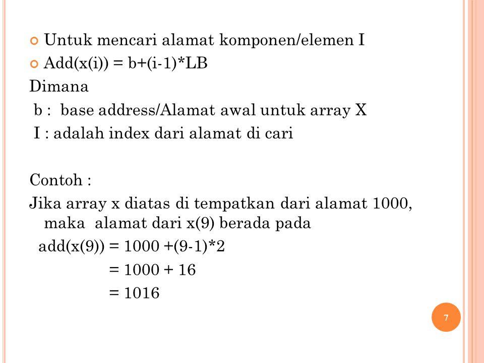 Untuk mencari alamat komponen/elemen I Add(x(i)) = b+(i-1)*LB Dimana b : base address/Alamat awal untuk array X I : adalah index dari alamat di cari Contoh : Jika array x diatas di tempatkan dari alamat 1000, maka alamat dari x(9) berada pada add(x(9)) = 1000 +(9-1)*2 = 1000 + 16 = 1016 7