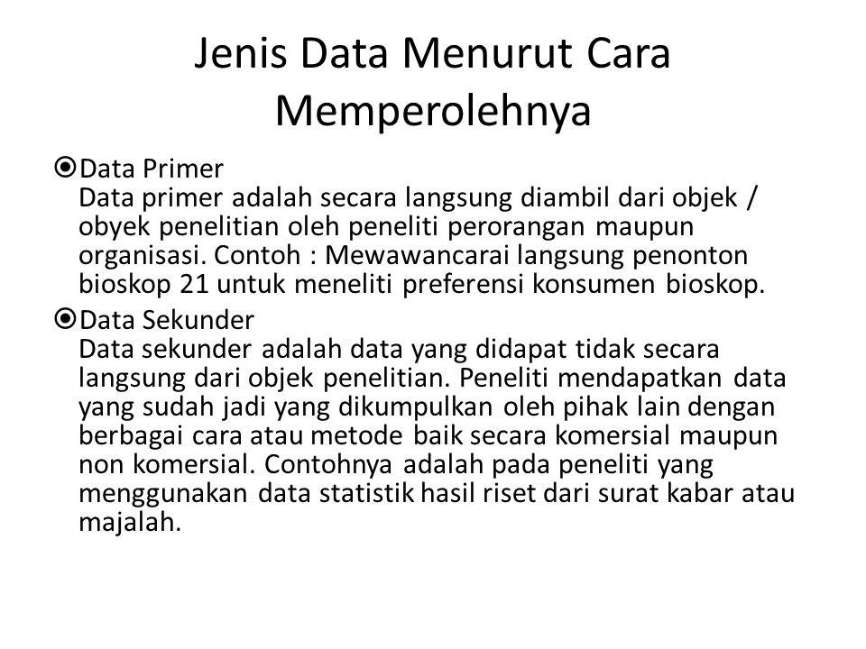 Jenis Data Menurut Cara Memperolehnya  Data Primer Data primer adalah secara langsung diambil dari objek / obyek penelitian oleh peneliti perorangan maupun organisasi.