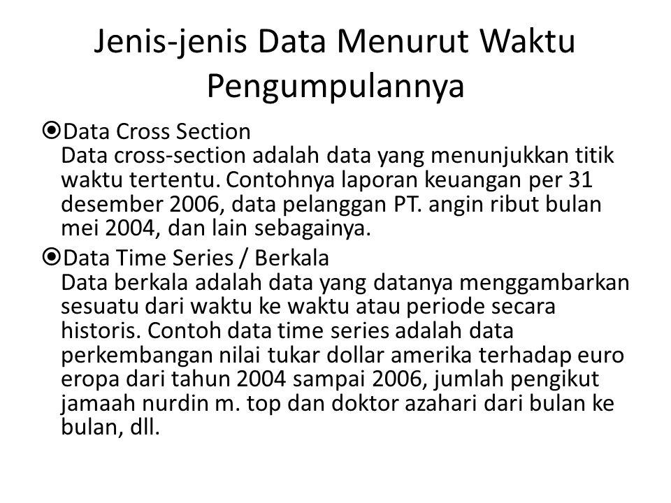 Jenis-jenis Data Menurut Waktu Pengumpulannya  Data Cross Section Data cross-section adalah data yang menunjukkan titik waktu tertentu. Contohnya lap