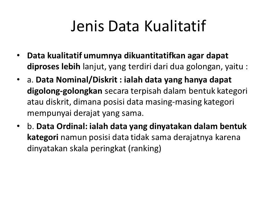 Jenis Data Kualitatif Data kualitatif umumnya dikuantitatifkan agar dapat diproses lebih lanjut, yang terdiri dari dua golongan, yaitu : a. Data Nomin