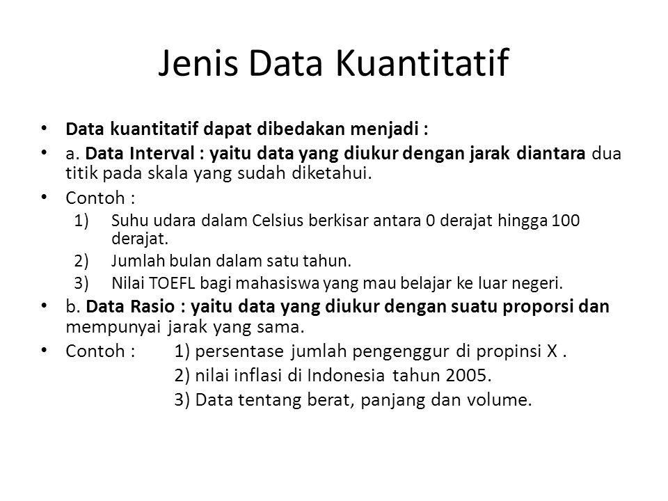 Jenis Data Kuantitatif Data kuantitatif dapat dibedakan menjadi : a. Data Interval : yaitu data yang diukur dengan jarak diantara dua titik pada skala