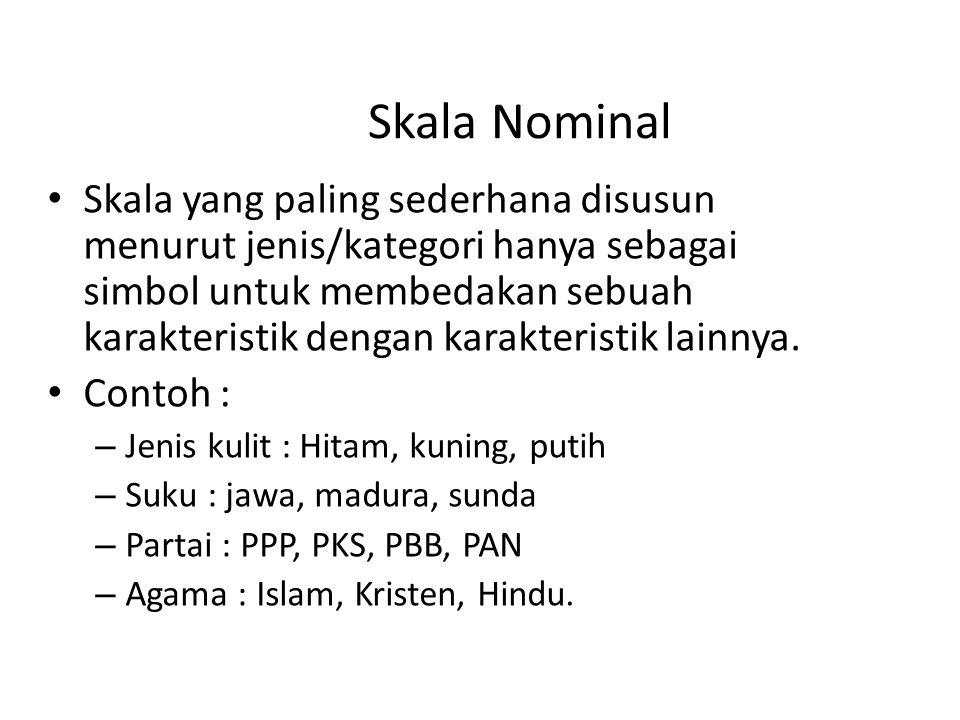 Skala Nominal Skala yang paling sederhana disusun menurut jenis/kategori hanya sebagai simbol untuk membedakan sebuah karakteristik dengan karakterist