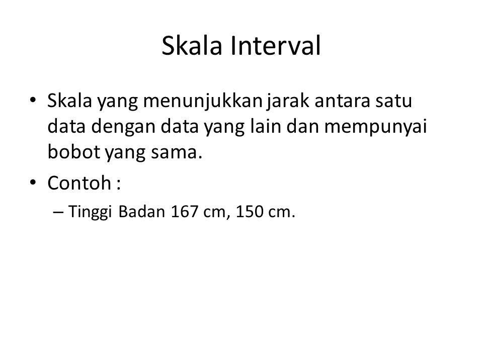 Skala Interval Skala yang menunjukkan jarak antara satu data dengan data yang lain dan mempunyai bobot yang sama. Contoh : – Tinggi Badan 167 cm, 150