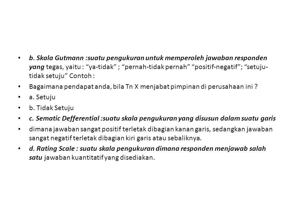 """b. Skala Gutmann :suatu pengukuran untuk memperoleh jawaban responden yang tegas, yaitu : """"ya-tidak"""" ; """"pernah-tidak pernah"""" """"positif-negatif""""; """"setuj"""