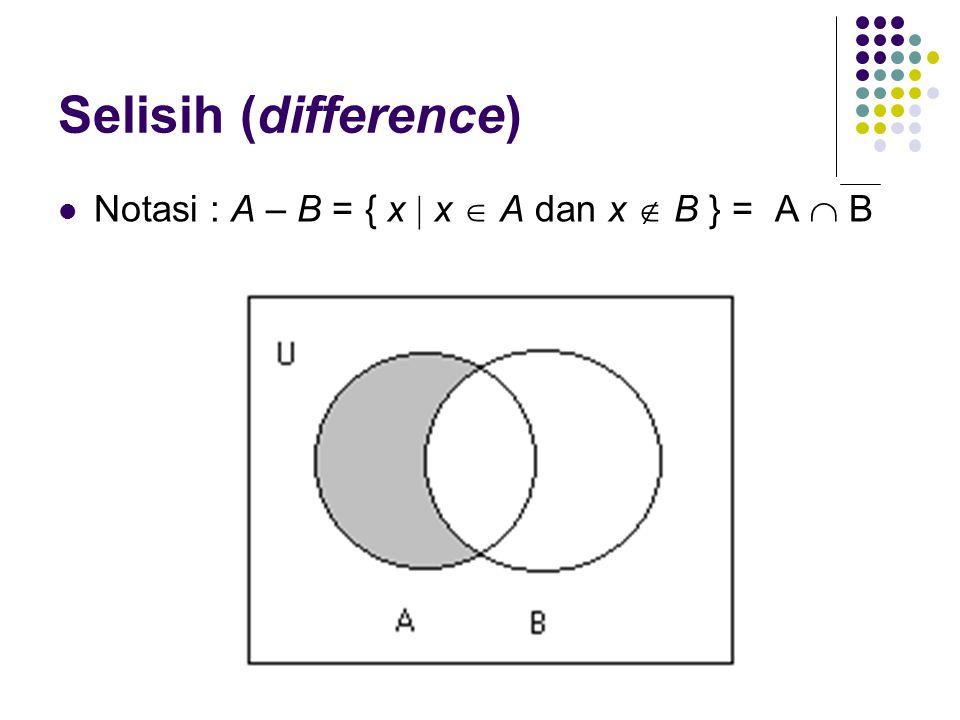 Selisih (difference) Notasi : A – B = { x  x  A dan x  B } = A  B
