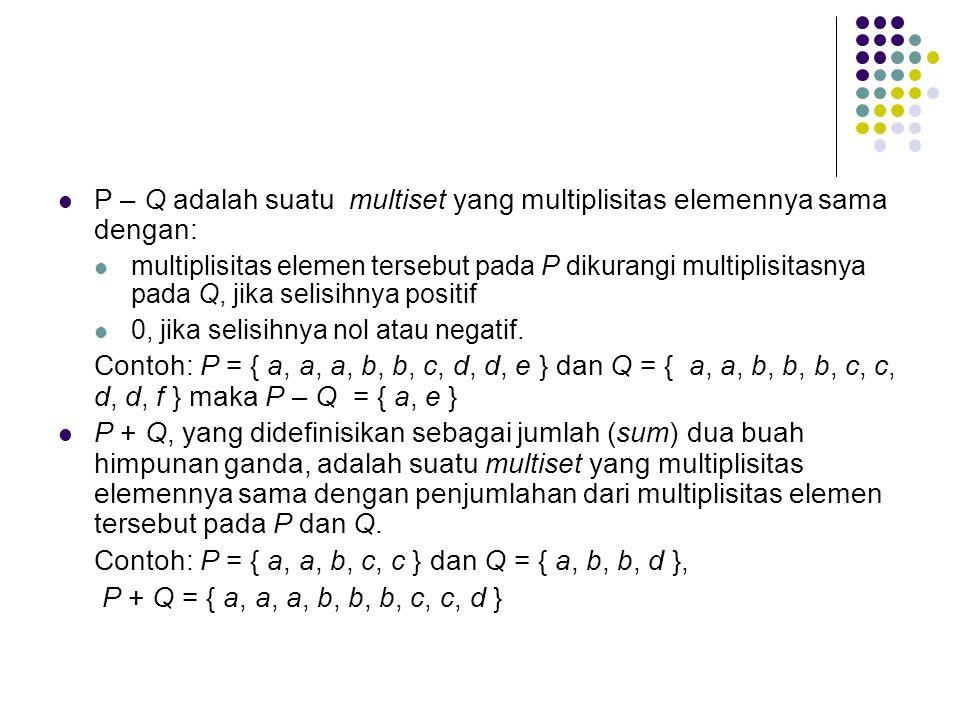 P – Q adalah suatu multiset yang multiplisitas elemennya sama dengan: multiplisitas elemen tersebut pada P dikurangi multiplisitasnya pada Q, jika selisihnya positif 0, jika selisihnya nol atau negatif.