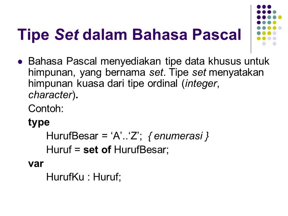 Tipe Set dalam Bahasa Pascal Bahasa Pascal menyediakan tipe data khusus untuk himpunan, yang bernama set.