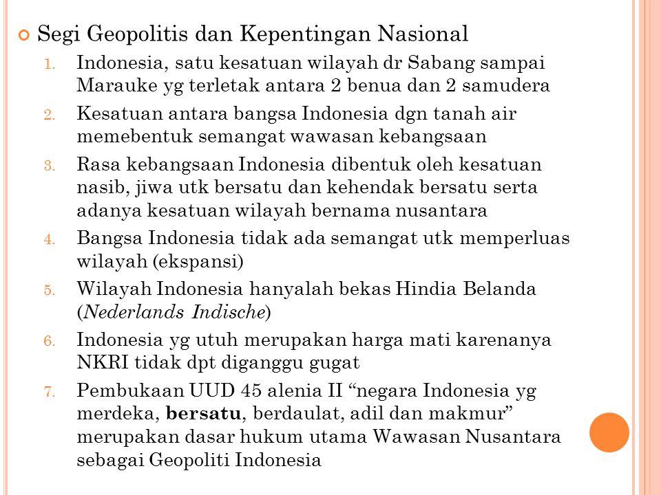 Segi Geopolitis dan Kepentingan Nasional 1.