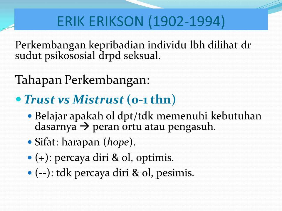 ERIK ERIKSON (1902-1994) Perkembangan kepribadian individu lbh dilihat dr sudut psikososial drpd seksual. Tahapan Perkembangan: Trust vs Mistrust (0-1