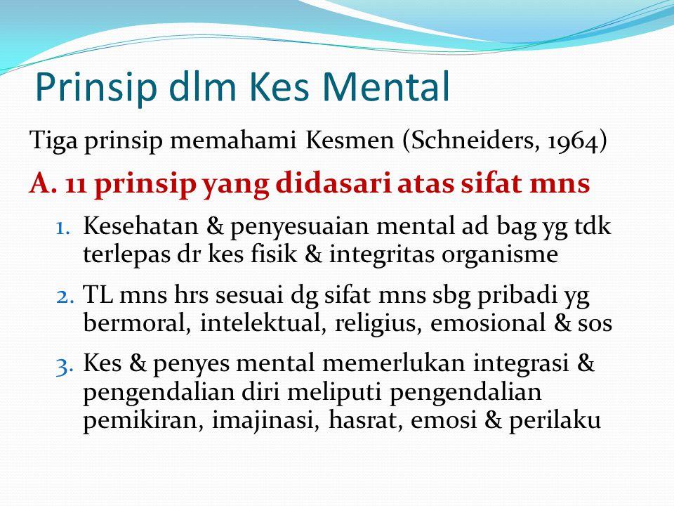 Tiga prinsip memahami Kesmen (Schneiders, 1964) A. 11 prinsip yang didasari atas sifat mns 1.Kesehatan & penyesuaian mental ad bag yg tdk terlepas dr