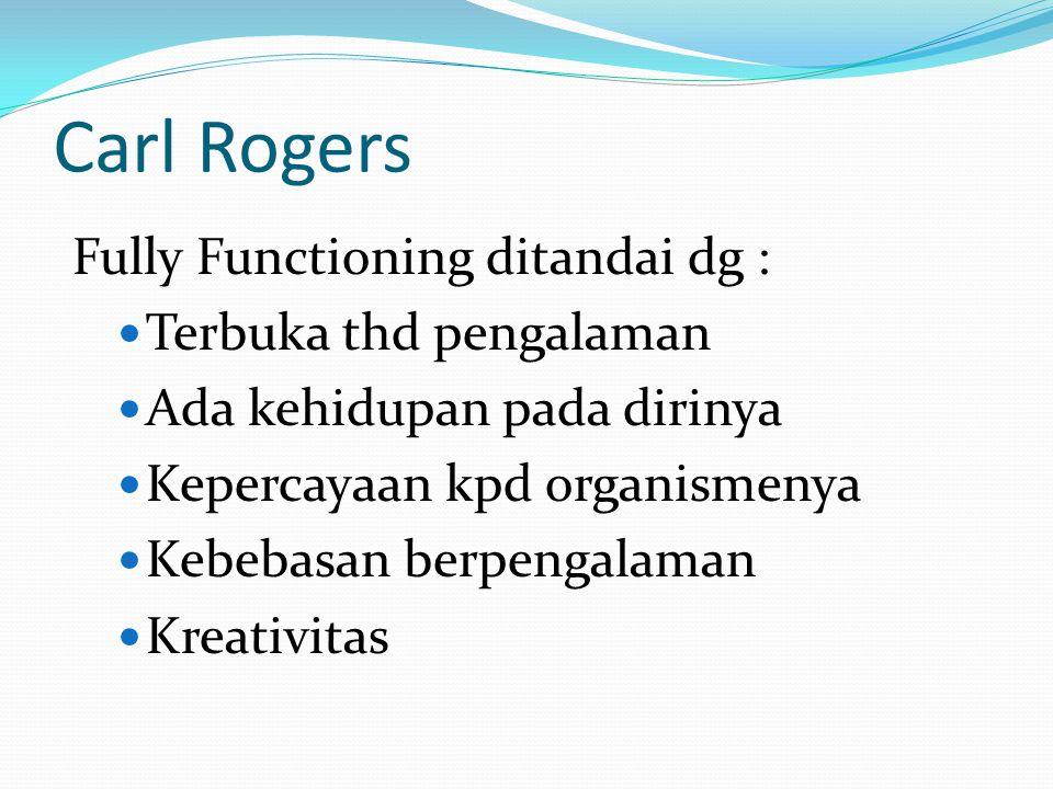 Carl Rogers Fully Functioning ditandai dg : Terbuka thd pengalaman Ada kehidupan pada dirinya Kepercayaan kpd organismenya Kebebasan berpengalaman Kre
