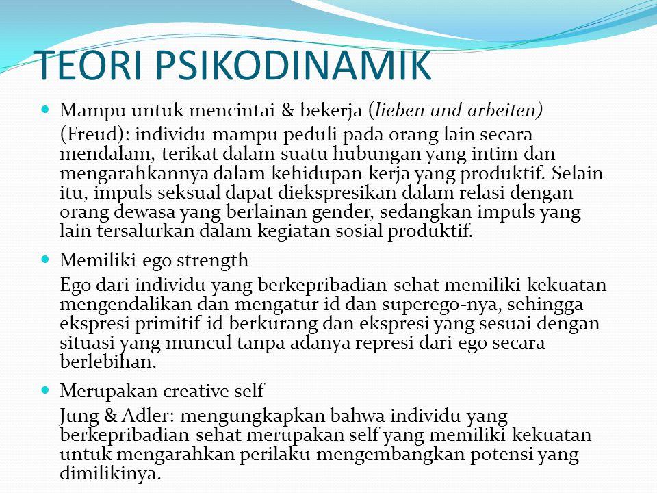 TEORI PSIKODINAMIK Mampu untuk mencintai & bekerja (lieben und arbeiten) (Freud): individu mampu peduli pada orang lain secara mendalam, terikat dalam