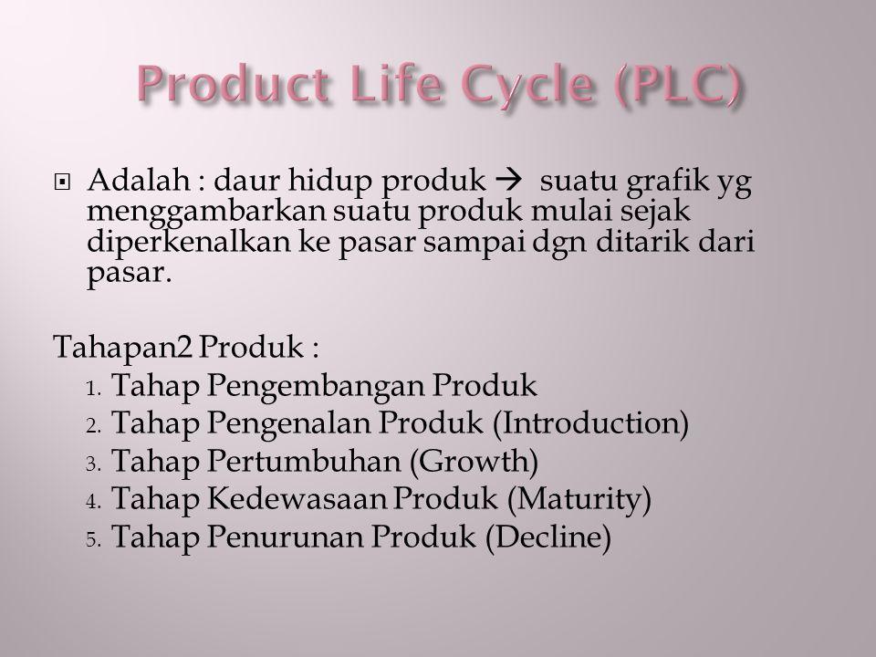  Adalah : daur hidup produk  suatu grafik yg menggambarkan suatu produk mulai sejak diperkenalkan ke pasar sampai dgn ditarik dari pasar. Tahapan2 P