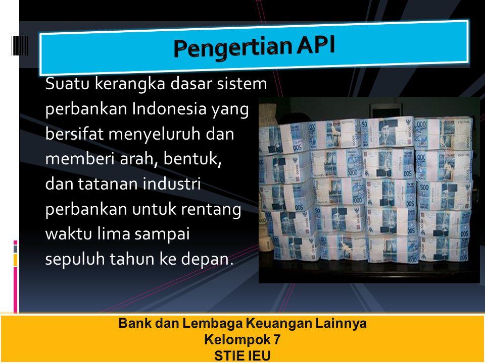 Suatu kerangka dasar sistem perbankan Indonesia yang bersifat menyeluruh dan memberi arah, bentuk, dan tatanan industri perbankan untuk rentang waktu