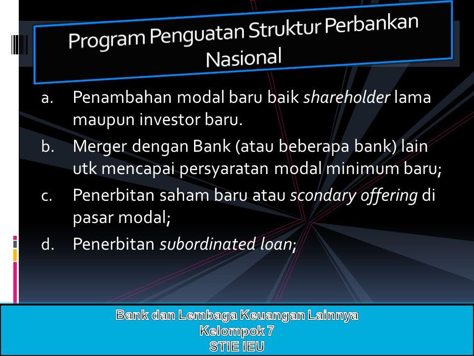 a. Penambahan modal baru baik shareholder lama maupun investor baru. b. Merger dengan Bank (atau beberapa bank) lain utk mencapai persyaratan modal mi